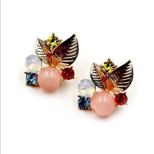 Lovely golden pink leaves crystal earrings